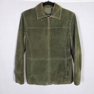 Bernardo for Nordstrom Green Suede Zip-Up Jacket